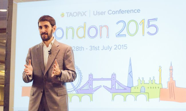 Man speaking at Taopix user conference 2015