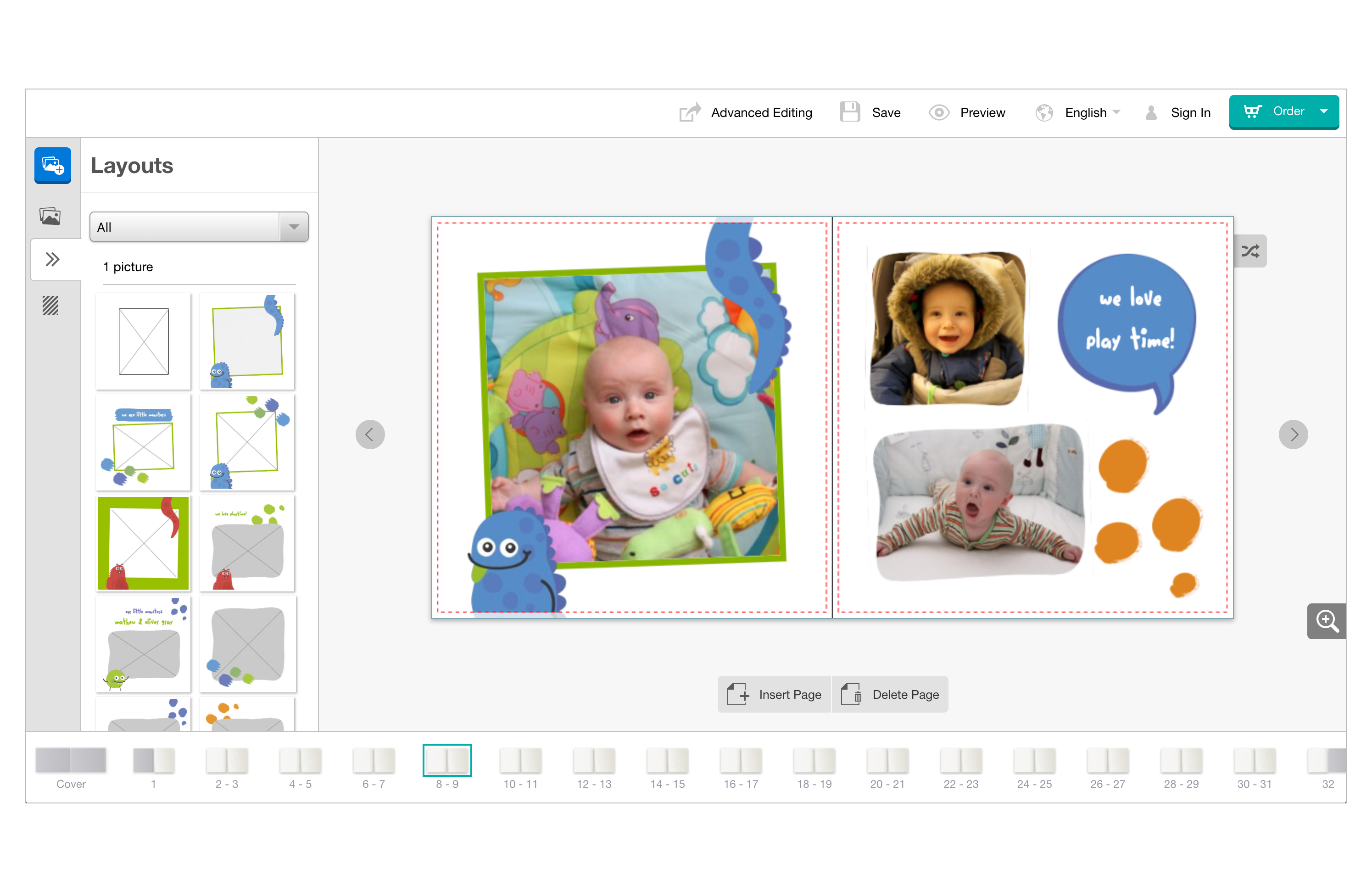Preview of Taopix online Easy editor with baby pictures