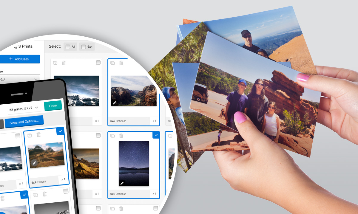 Photo prints and Taopix Software Creator on mobile phone