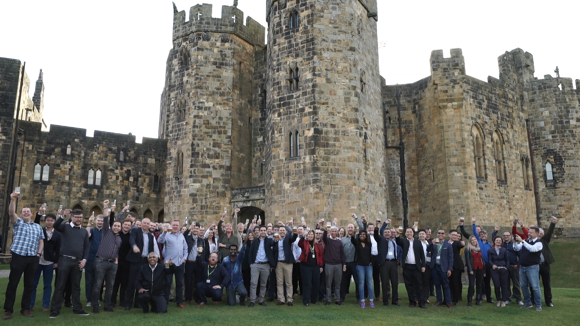 Group of people in front of Alnwick Castle